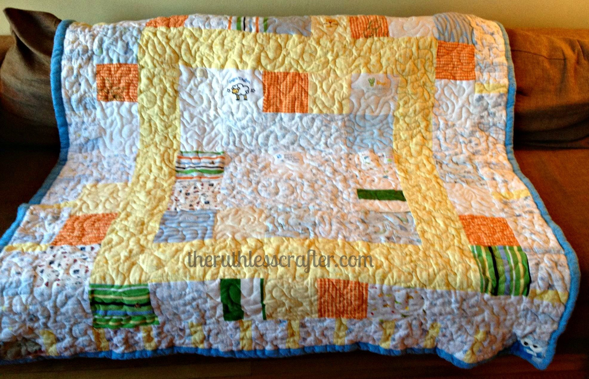 Custom Baby Quilt using baby clothes and receiving blankets