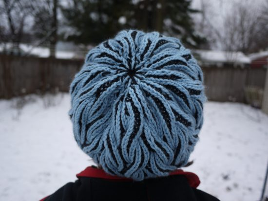 Flaming Hat - Cascade 220 Black & Summer sky - brioche knitting, fully reversible hat.