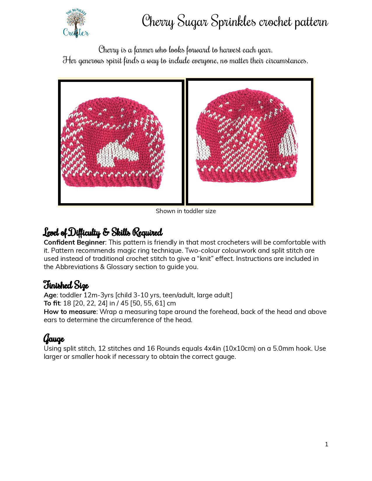 Cherry Sugar Sprinkles – crochet pattern page 1