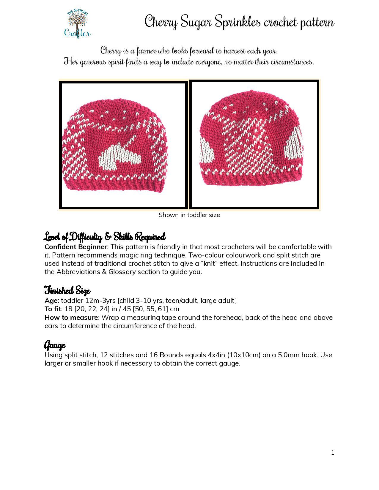 Cherry Sugar Sprinkles – crochet pattern page 1