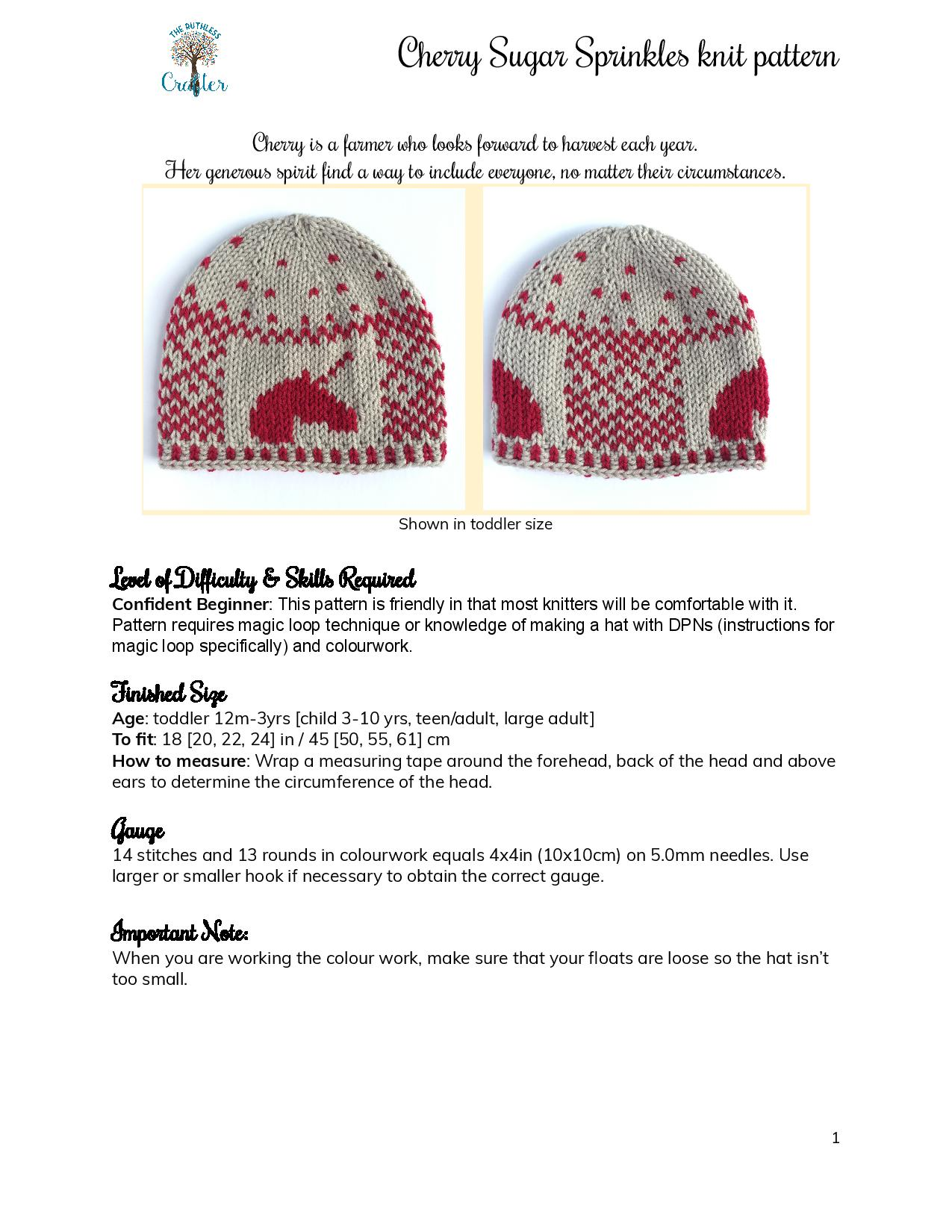 Cherry Sugar Sprinkles – knit pattern page 1