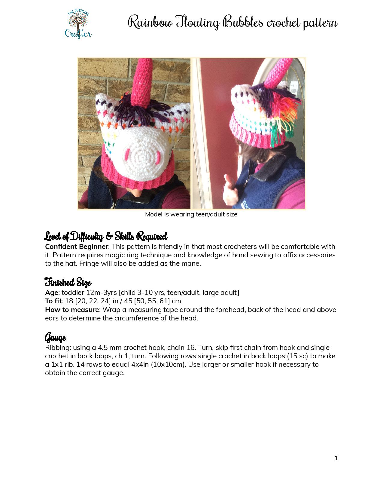 Rainbow Floating Bubbles – crochet unicorn hat pattern