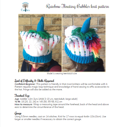 Rainbow Floating Bubbles –  knit unicorn hat pattern
