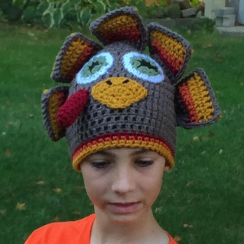 crochet turkey hat for tween – image 1