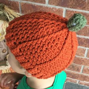 crochet pumpkin beanie - image 3
