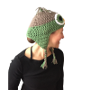 green owl crochet hat image 06