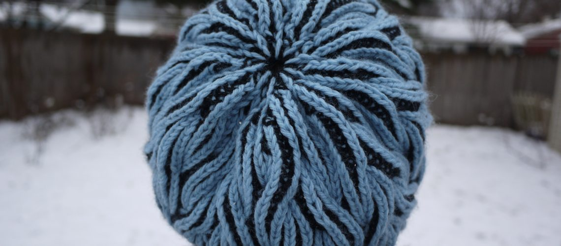 Flaming Hat - Cascade 220 Black & Summer sky - brioche knitting, fully reversible hat.